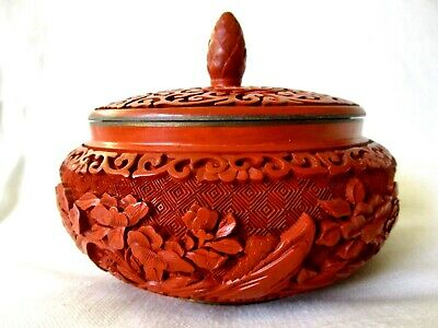 Chinese Ming Dy. Red Cinnabar Lacquer Deep Carved Leaded Box