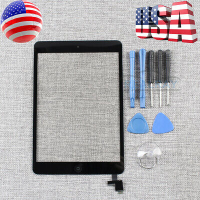 For iPad Mini 1 2 Touch Screen Glass Digitizer Replacement+ IC+Home Button Black