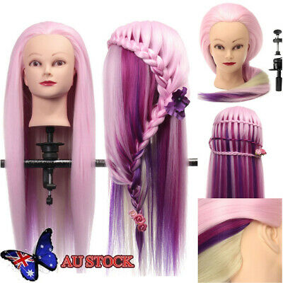 27'' Color Long Hair Hairdressing Training Head Dummy Model Mannequin Cutt AU