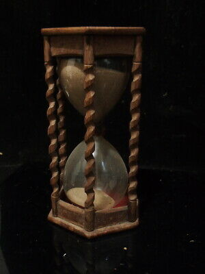 Antique Jacobean Style Carved Oak Hourglass Sand Clock