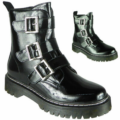 Ladies Ankle Boots Womens Goth Punk Shiny Zip Chunky Buckle Platform Shoes Size