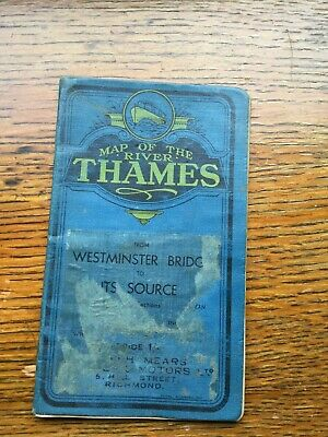 Vintage Map of the River Thames Westminster bridge to Source J Mears Richmond