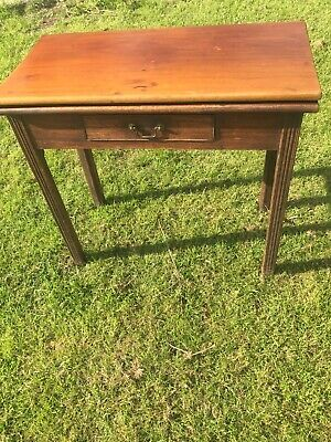 Oak Mahogany Console Tea Writing Card fold out gate leg Table + Drawer antique