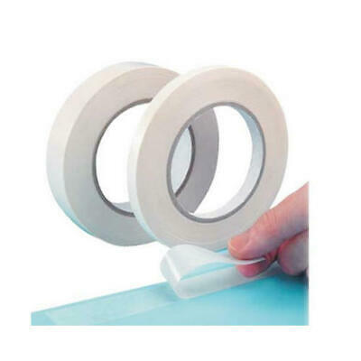 2 x Double Sided TISSUE TAPE 3MM X 33M WHITE ultra thin self adhesive roll