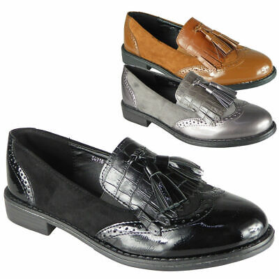 Ladies Tassle Loafers Womens Flats Brogue Work Office Slip On School Shoes Size