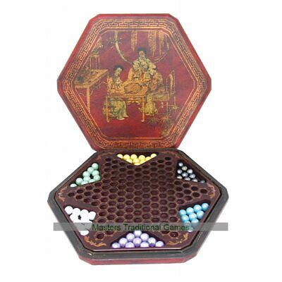Chinese Checkers in Leatherette Box with Glass Marbles