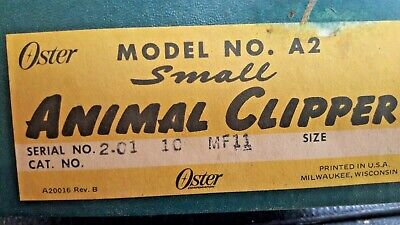 VINTAGE OSTER ANIMAL Electric Clipper Model A2 Small with 5