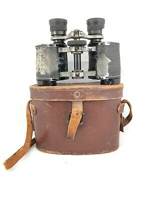 Rare French Orienta Binoculars 8 x 26 Mourant Paris in leather case Damaged