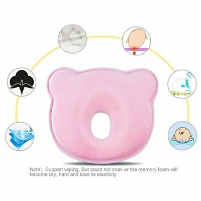 Baby Head Shaping Pillow Memory Foam Pillow Flat Head Syndrome Prevention (Pink)