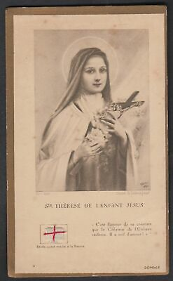 Saint Therese of Lisieux vintage relic reliquary religious Holy card