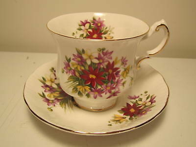 """Paragon English China Tea Cup&Saucer  Flower Festival  """"F""""  Pre Own"""