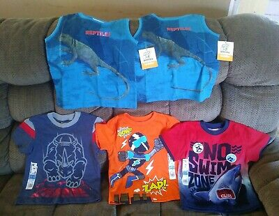 Lot 5 Shirts Short Sleeve Tank Boys 2T Shark Bull Superhero Reptile Garanimals
