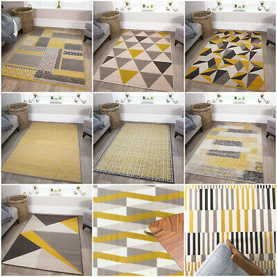 Mustard Yellow Cheap Geometric Rugs Budget Soft Bedroom Lounge Living Room Rug