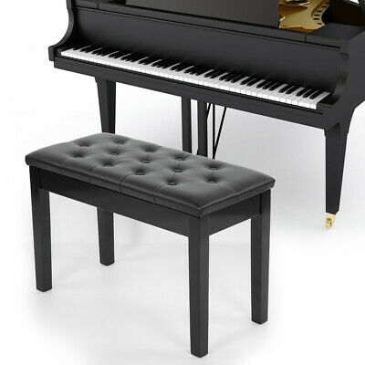 Double Person Leather Piano Stool Wood Bench Storage with Padded Seat UK