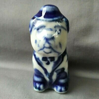 "Porcelain figurine. Doggy (Pug) ""Gzhel"". Hand-painted in Russia"