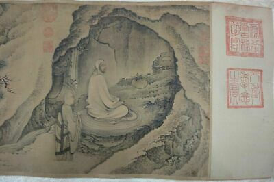 """Very Rare Long Old Chinese Scroll Hand Painting Buddhas """"DaiJin"""" Mark"""