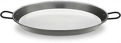 Polished Steel Paella Pan Double Handle Gas Electric Compatible Easy Clean 46 cm