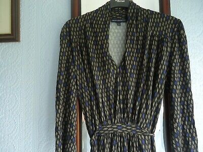 French Connection Dress Size 12 Black, Beige And Blue - Very Good Condition