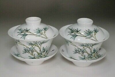 Chinese Guangxu (1875-1908) Set of 2 covered tea cups #3656