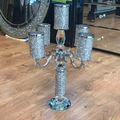 Crushed Diamonds Crystal Filled 5 Candle Holder Crystal Blingy Romany Candelabra