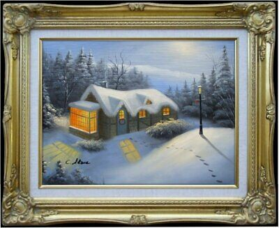 Framed Quality Hand Painted Oil Painting, Snowing landscape - 7, 12x16in