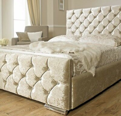 Luxury Crushed Velvet Fabric Bed Single Double Size Memory Mattress Free P&P