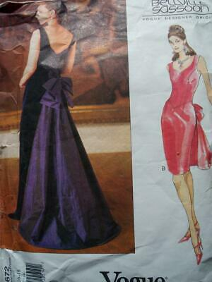 Vogue 1672 Sassoon Misses Cocktail Dress Evening Gown With Train Pattern 14-18