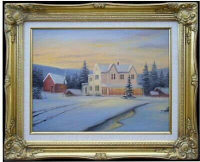 Framed Quality Hand Painted Oil Painting, Snowing landscape - 16, 12x16in