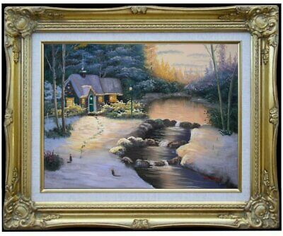 Framed Quality Hand Painted Oil Painting, Snowing landscape - 18, 12x16in
