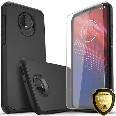 for MOTOROLA MOTO Z4 Dual Layer Phone Case + Tempered Glass Protector