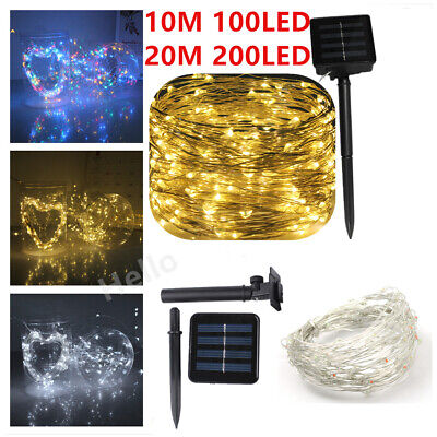 100LED Solar String Lights Waterproof Copper Wire Fairy Outdoor Garden Party UK