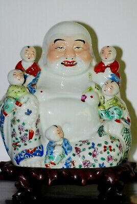 RARE Antique Chinese Porcelain Famille Rose Laughing Buddha Carved Stand c.1900s