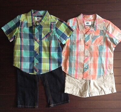 Old Navy Baby Boy Button Down Plaid Shirt & Jeans Lot 18-24 Months NWT