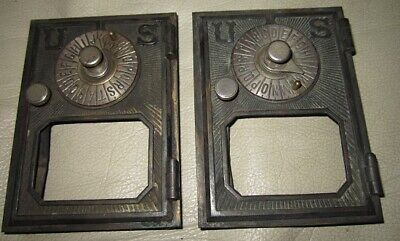 Pair of Early/Vintage/Antique Brass Office Post Office/Bank Mailbox Fronts