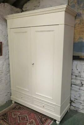 Antique French Painted Pine Armoire Wardrobe Dismantles 1890 Clean & Tidy