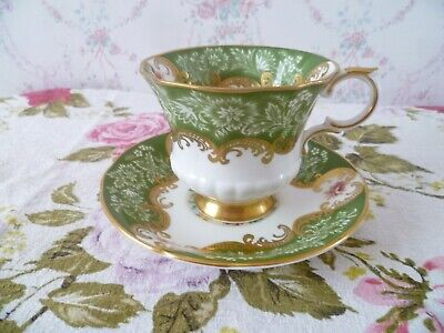 Lovely Vintage Paragon English China Tea Cup & Saucer Green Trenton