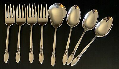 Oneida Community SPRING ROSE 8 Serving Pieces Betty Crocker Stainless Flatware!!
