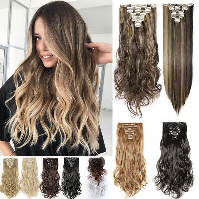 UK Hair Extensions Real Thick 8PCS Full Head Clip In Long as Real human 17-26""