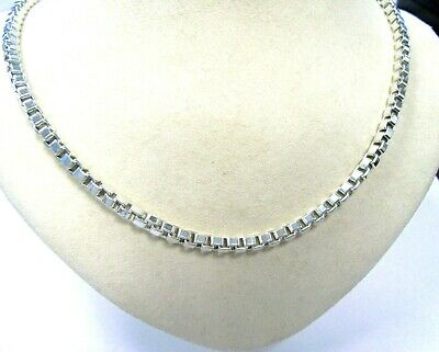 """Tiffany & Co. Sterling Silver 4mm 18"""" Box Chain Necklace"""