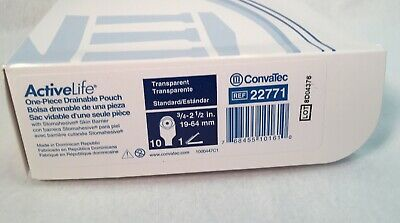 """10 Convatec 22771 Pouches 1Pc. Cut-To-Fit 3/4"""" To 2-1/2"""" Expires 2023"""