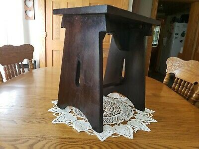 """Antique Hardwood Mission Oak Arts Craft Style Bench Stool Seat Plant Stand 17""""T"""