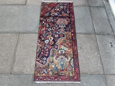Vintage Fragment Traditional Hand Made Rug Oriental Wool Blue Rug 135x52cm