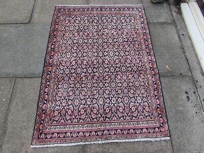 Vintage Hand Made Traditional Rug Oriental Wool Blue Pink Small Rug 136x99cm