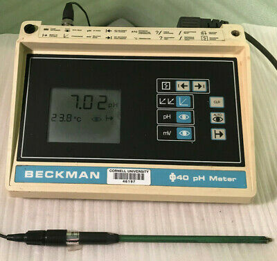 Vintage Beckman PHI40 PH Meter w/Combination Electrode/Temperature Probe Works!
