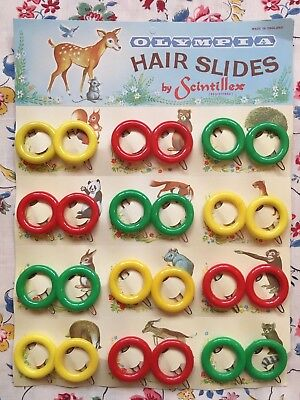 Shop display card 12 pairs vintage 50's 60's plastic novelty hair clips, slides