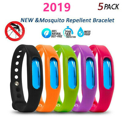 5Pcs Anti Mosquito Pest Bug Repellent Wrist Band Bracelet Insect Bangle Lock Su8
