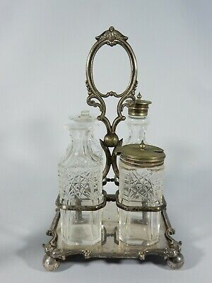 Antique Victorian Edwardian Silver Plated Cut Glass Cruet Set Bottle Condiment