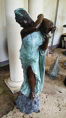"""Classical Cast Bronze Sculpture Fountain Rebecca at the Well  Lady with Urn 56""""H"""