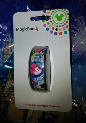 Disney MILLENNIAL PINK MINNIE MOUSE BOHO FLORAL Magic Band 2 Magicband Parks NEW