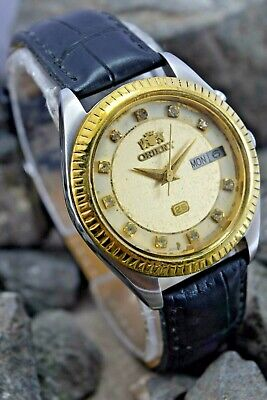 Vintage Orient 46941 Automatic Wrist Watch Beautiful Golden Dial. S/S Round